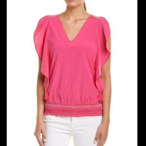 Trina Turk Pink Ruffle Waist Sleeveless Top NWT